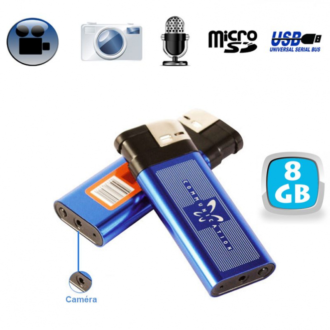 Briquet camera espion appareil photo enregistrement sonore USB 8 Go - Briquet caméra - www.yonis-shop.com
