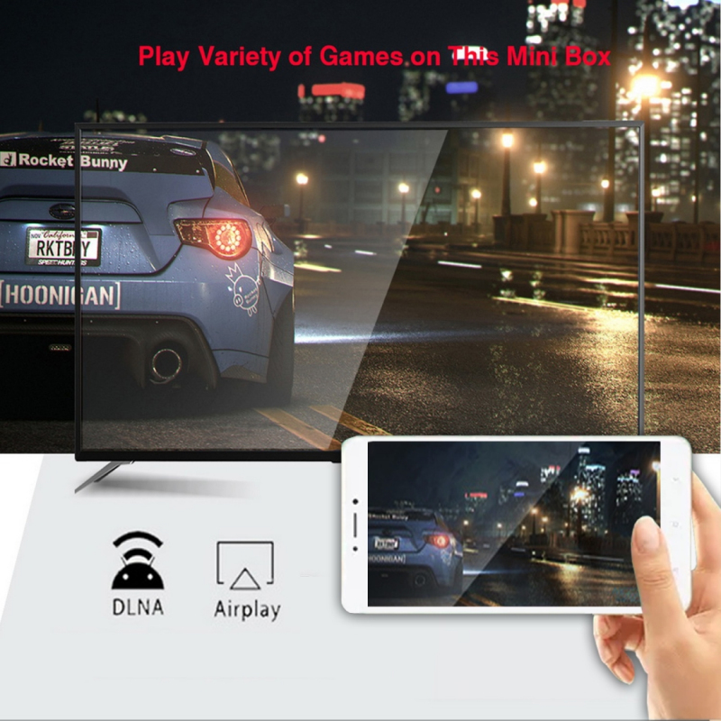 Boitier Android TV permet la fonction Miracast, DLNA, Airplay