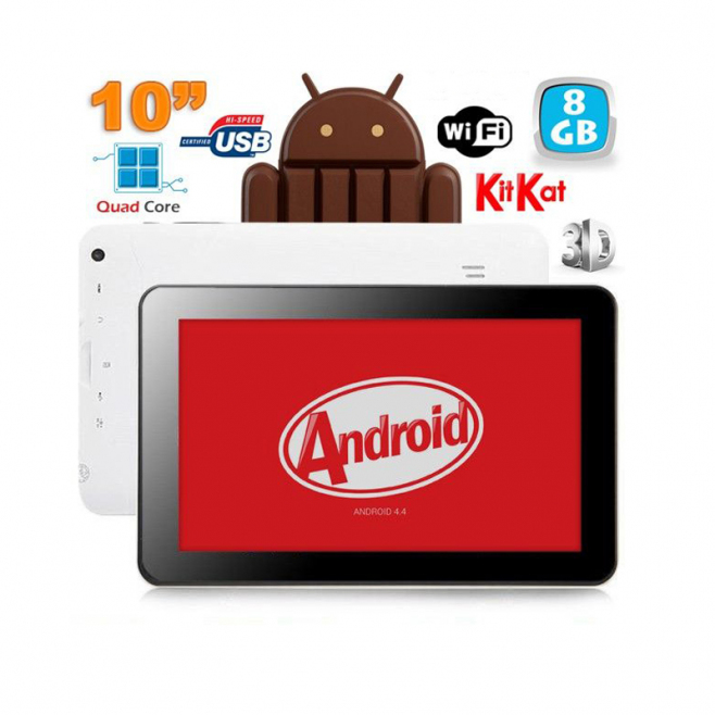 Tablette Tactile Capacitif Android 4.4 KitKat Grande Tablette 3D 8 Go ROM WiFi Blanc