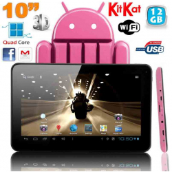Tablette Tactile Android 4.4 KitKat Quad Core Tablette 5000 mAh 2MP 12 Go Bluetooth WiFi Rose