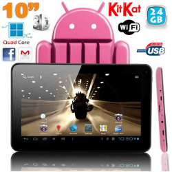 Tablette Tactile Android 4.4 KitKat Quad Core Tablette 5000 mAh 2MP 24 Go Bluetooth WiFi Rose