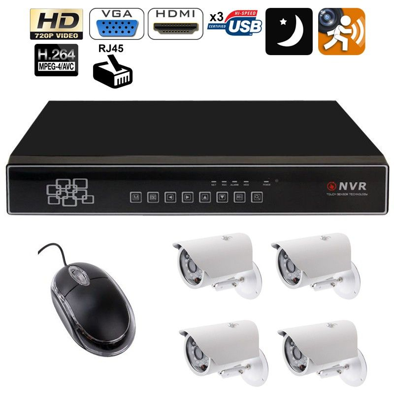 kit vid osurveillance enregistreur 4 cam ras ip ir 720p. Black Bedroom Furniture Sets. Home Design Ideas