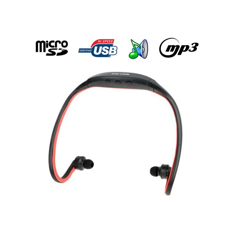 casque mp3 sport lecteur audio sans fil micro sd running v lo rouge. Black Bedroom Furniture Sets. Home Design Ideas