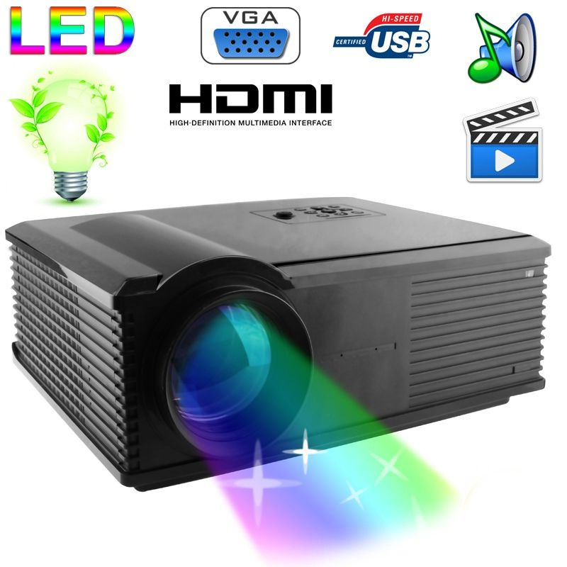 vid oprojecteur led 95w 2800 lumens full hd 1080p home cinema noir. Black Bedroom Furniture Sets. Home Design Ideas