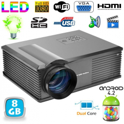 Vidéoprojecteur Android 4.4 3000 Lumens LED 150W Full HD 1080p Noir - Videoprojecteur Android - www.yonis-shop.com