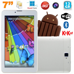 Tablette tactile 3G Quad Core 7 pouces Dual SIM Android 4.4 Blanc 12Go