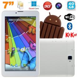 Tablette tactile 3G Quad Core 7 pouces Dual SIM Android 4.4 Blanc 40Go