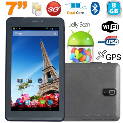 Tablette tactile 3G 7 pouces Dual SIM Android 4.2 Dual Core Noir 8Go