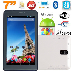 Tablette tactile 3G 7 pouces Dual SIM Android 4.2 Dual Core Blanc 36Go