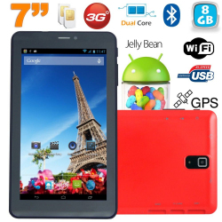Tablette tactile 3G 7 pouces Dual SIM Android 4.2 Dual Core Rouge 8Go