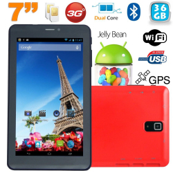 Tablette tactile 3G 7 pouces Dual SIM Android 4.2 Dual Core Rouge 36Go