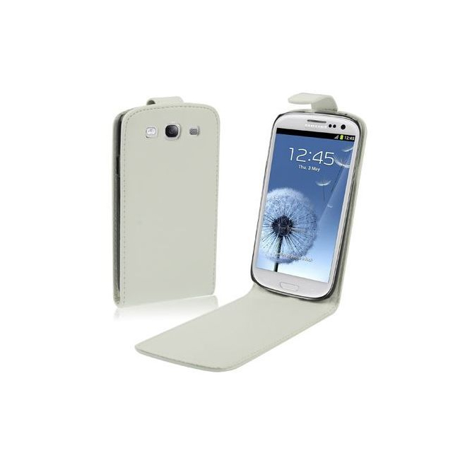 Housse Samsung Galaxy S3 i9300 cuir blanc 4.8 pouces