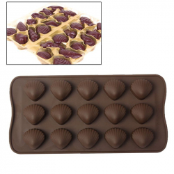 Plaque de 15 moules silicone coquillage fritures en chocolat marron - Moule silicone - www.yonis-shop.com