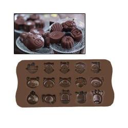 Plaque de mini moules silicone animaux originaux 15 formes marron - Moule silicone - www.yonis-shop.com