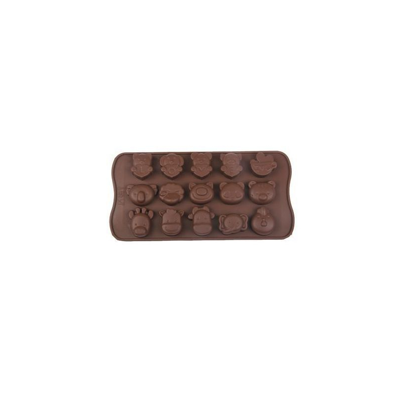 plaque de mini moules silicone animaux originaux 15 formes marron. Black Bedroom Furniture Sets. Home Design Ideas