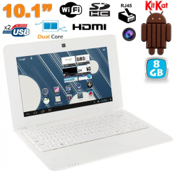 Mini PC Android 4.4 Netbook Ultra portable 10 pouces WiFi 8Go Blanc