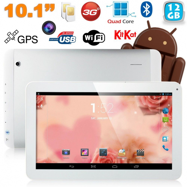 Tablette tactile 10 pouces 3G Double SIM Quad Core WiFi GPS 20Go Blanc - Tablette tactile 10 pouces - www.yonis-shop.com
