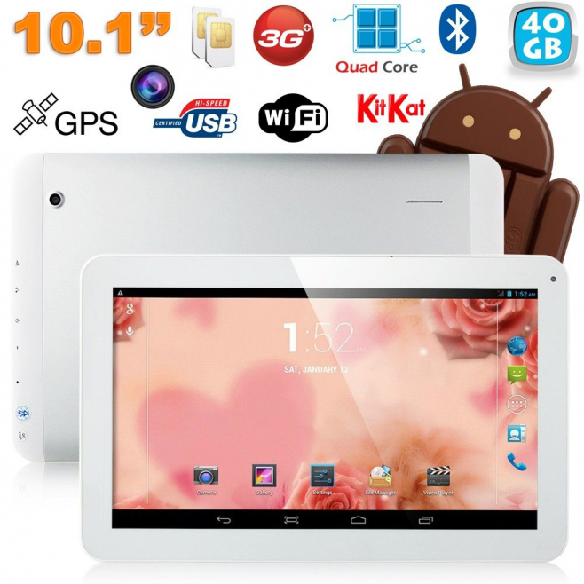 Tablette tactile 10 pouces 3G Double SIM Quad Core WiFi GPS 48Go Blanc - Tablette tactile 10 pouces - www.yonis-shop.com