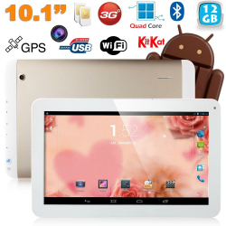 Tablette tactile 10 pouces 3G Double SIM Quad Core WiFi GPS 20Go Or