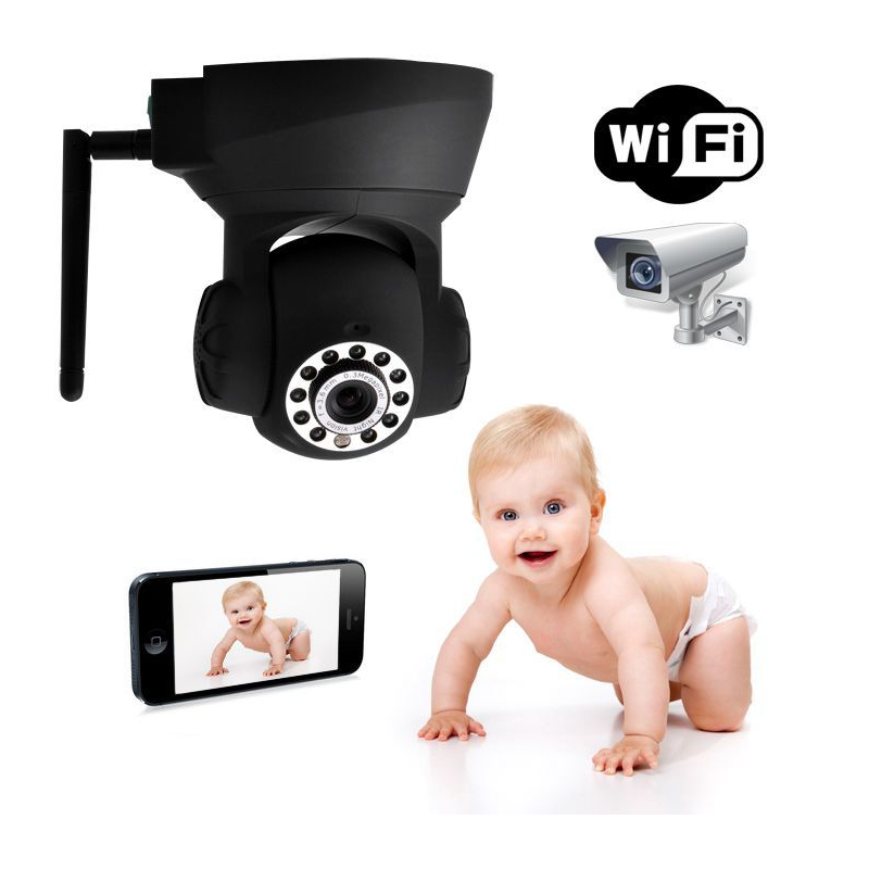cam ra ip wifi motoris e tablette smartphone babycam surveillance b b. Black Bedroom Furniture Sets. Home Design Ideas