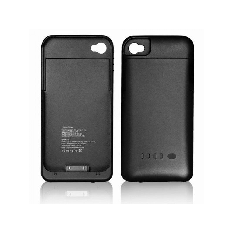 batterie coque iphone 4 4s 1900 mah noir. Black Bedroom Furniture Sets. Home Design Ideas