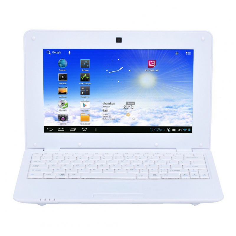 mini pc android ultra portable netbook 10 pouces wifi 4 go blanc. Black Bedroom Furniture Sets. Home Design Ideas