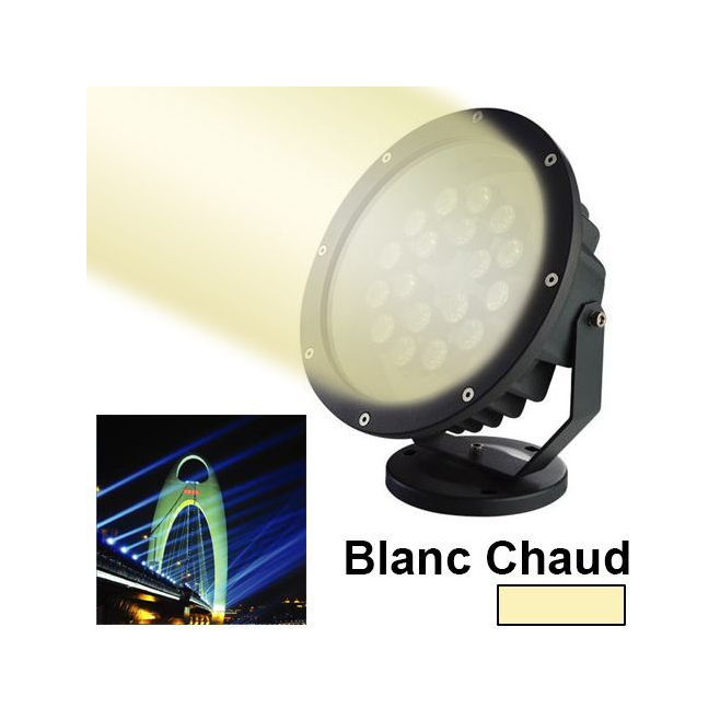 projecteur ext rieur led blanc chaud clairage jardin aluminium 18w. Black Bedroom Furniture Sets. Home Design Ideas