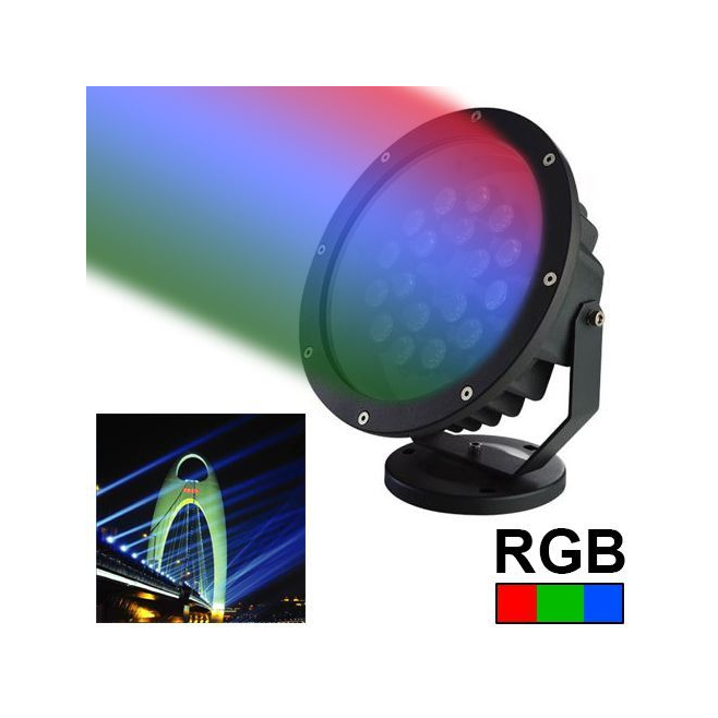 projecteur led spot rgb clairage jardin aluminium vert rouge bleu 18w. Black Bedroom Furniture Sets. Home Design Ideas