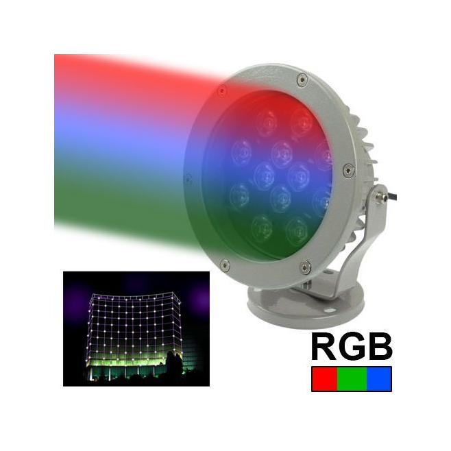 projecteur ext rieur led spot rgb aluminium vert rouge bleu 12w 960lm. Black Bedroom Furniture Sets. Home Design Ideas