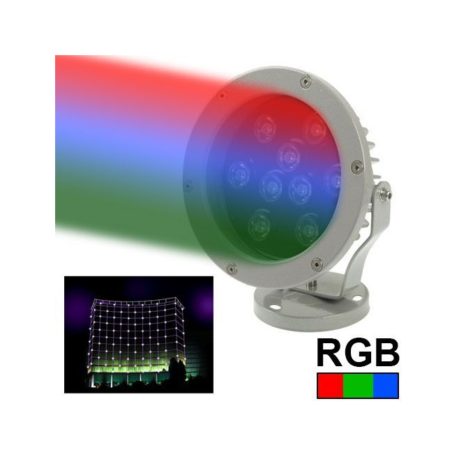 projecteur ext rieur led spot rgb aluminium vert rouge bleu 9w 720lm. Black Bedroom Furniture Sets. Home Design Ideas