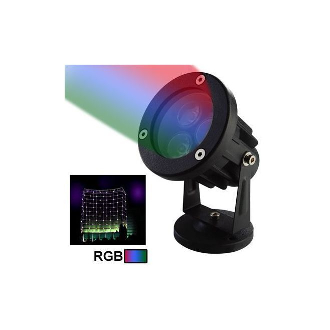 Projecteur ext rieur led rgb aluminium vert rouge bleu 6w for Projecteur led rgb exterieur