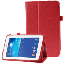 Housse Samsung Galaxy Tab 3 Lite SM T110 Support simili cuir Rouge