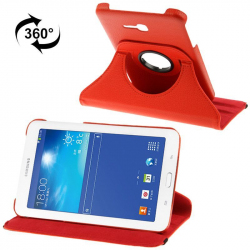Housse Samsung Galaxy Tab 3 Lite 7 pouces T110 holder 360° cuir Rouge