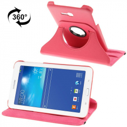 Housse Samsung Galaxy Tab 3 Lite 7 pouces T110 holder 360° cuir Rose