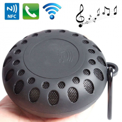Mini enceinte Bluetooth ronde kit mains libres NFC waterproof noir - Enceinte waterproof - www.yonis-shop.com
