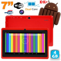 Tablette tactile Android 4.4 KitKat 7 pouces Dual Core 4Go Rouge - Tablette tactile 7 pouces - www.yonis-shop.com