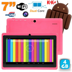 Tablette tactile Android 4.4 KitKat 7 pouces Dual Core 4Go Rose