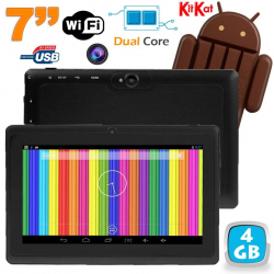 Tablette tactile Android 4.4 KitKat 7 pouces Dual Core 4Go Noir - Tablette tactile 7 pouces - www.yonis-shop.com