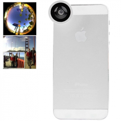 Objectif smartphone fish-eye grand angle 180° zoom 0.67x macro blanc