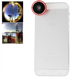 Objectif universel smartphone fish-eye grand angle 180° rouge