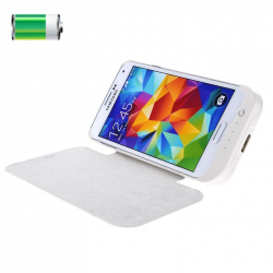 Batterie coque externe 3800 mAh flip cover Samsung Galaxy S5 Blanc