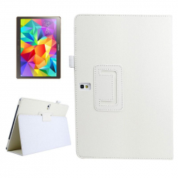 Housse Samsung Galaxy Tab S SM T800 10.5 pouces support cuir Blanc