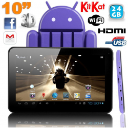 Tablette tactile 10 pouces Android 4.4 KitKat Quad Core 24 Go Violet