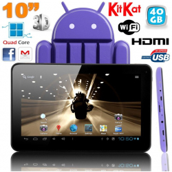 Tablette tactile 10 pouces Android 4.4 KitKat Quad Core 40 Go Violet - Tablette tactile 10 pouces - www.yonis-shop.com