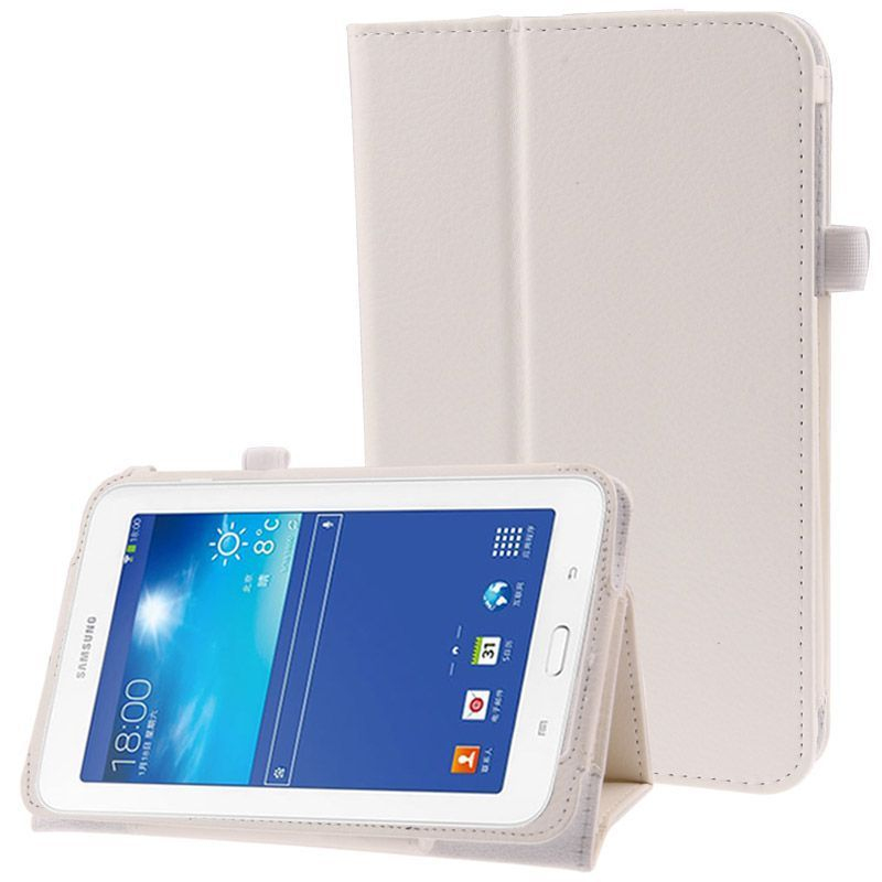 housse samsung galaxy tab 3 lite sm t110 support simili cuir blanc. Black Bedroom Furniture Sets. Home Design Ideas