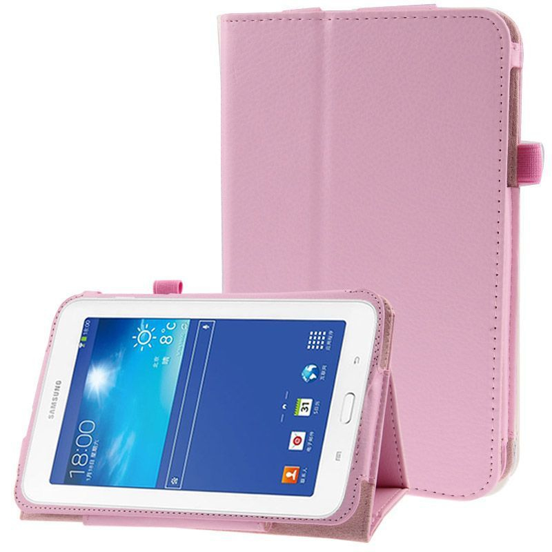 housse samsung galaxy tab 3 lite sm t110 support simili cuir rose. Black Bedroom Furniture Sets. Home Design Ideas