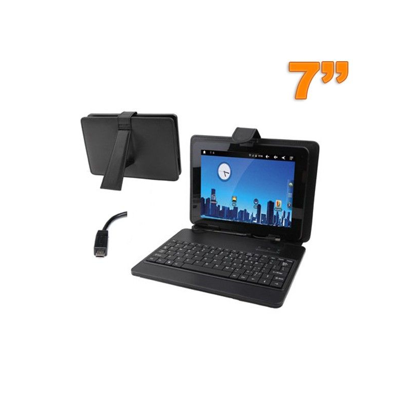 Housse clavier tablette tactile 7 pouces support micro mini usb noir - Tablette tactile port usb ...