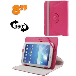 Housse universelle tablette tactile 8 pouces support 360° Rose