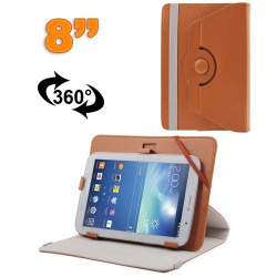 Housse universelle tablette tactile 8 pouces support 360° Marron
