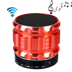 Mini Enceinte bluetooth kit mains libres micro SD USB métal Rouge Enceinte Bluetooth YONIS